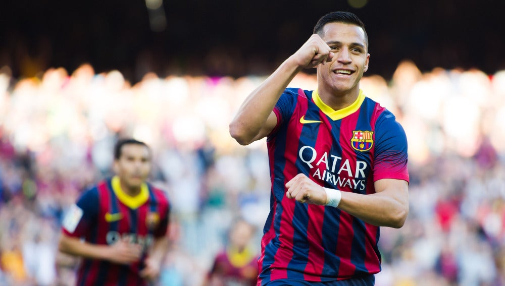 Alexis Sánchez, en un partido con el FC Barcelona