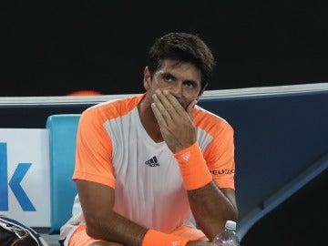 Verdasco, durante el partido contra Djokovic