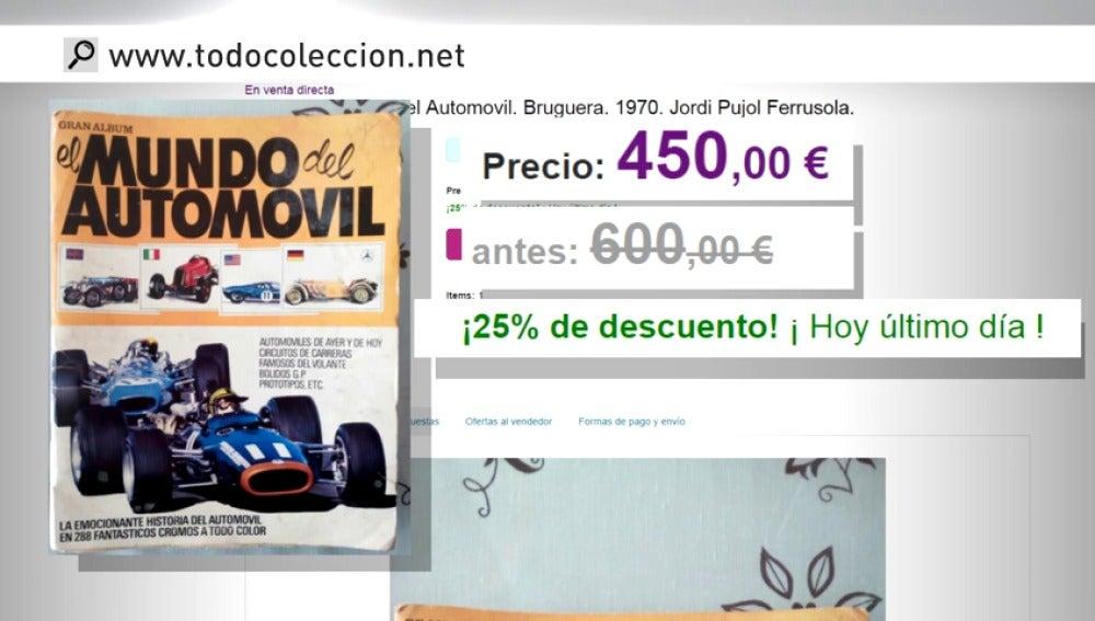 Frame 33.345 de: El álbum de cromos de coches de Jordi Pujol Ferrusola de cuando era niño se vende por 450 euros