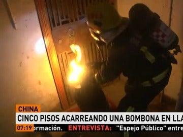 Bombona en llamas