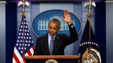 Barack Obama durante su última rueda de prensa antes de dejar el cargo de presidente