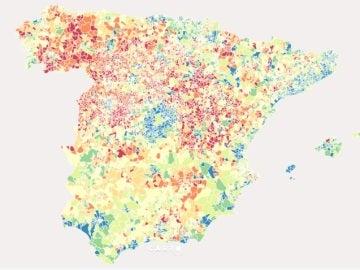 Mapa de población en España