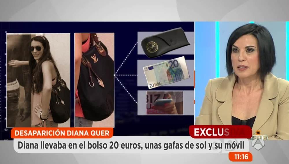 El contenido del bolso de Diana Quer.