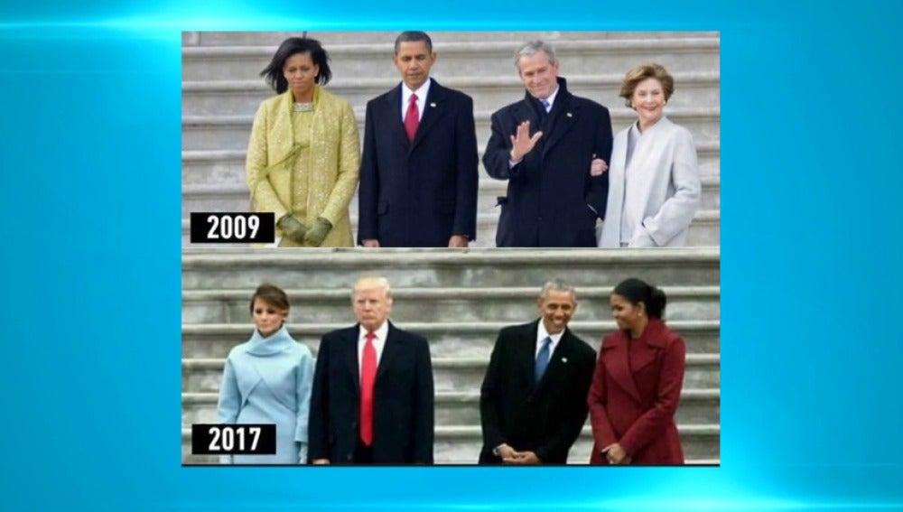 Frame 0.739579 de: Observamos las fotos tomadas en el traspaso de poderes entre los Bush-Obama y los Obama-Trump
