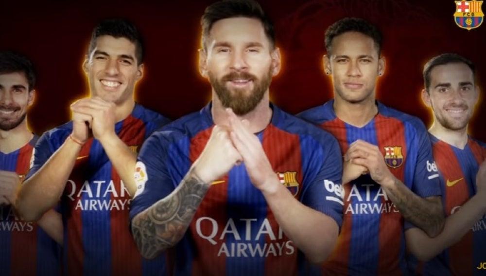 Los jugadores del Barça felicitan el año nuevo chino