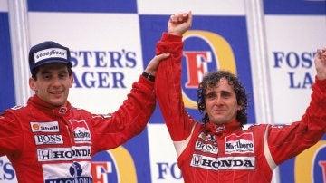 Prost y Senna tras terminar una carrera de F1