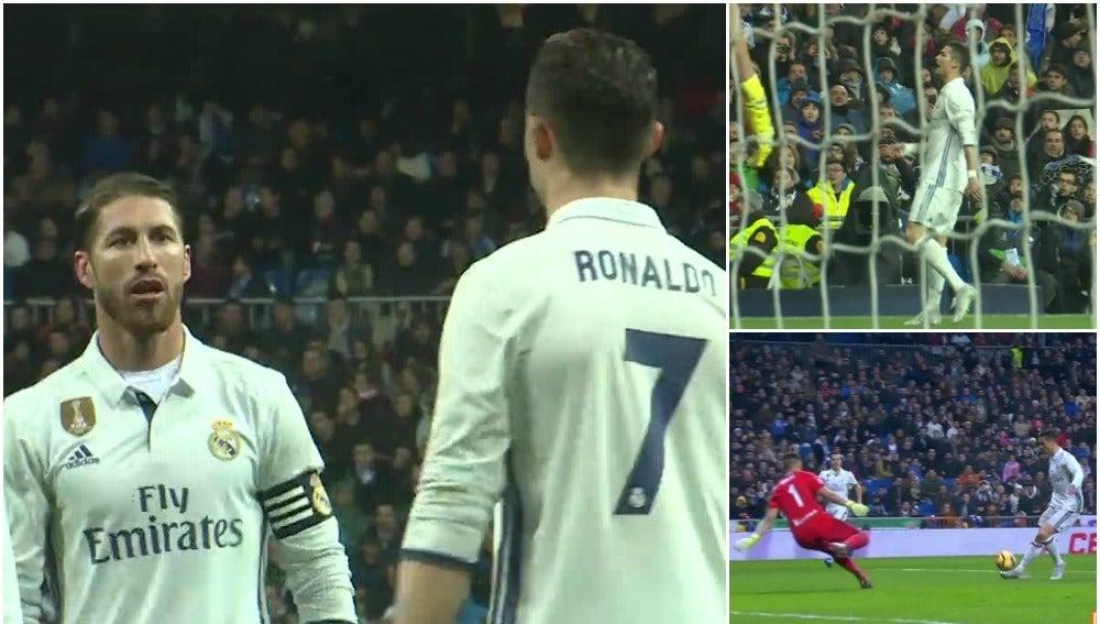 Ramos llama la atención a Cristiano Ronaldo ante la Real Sociedad