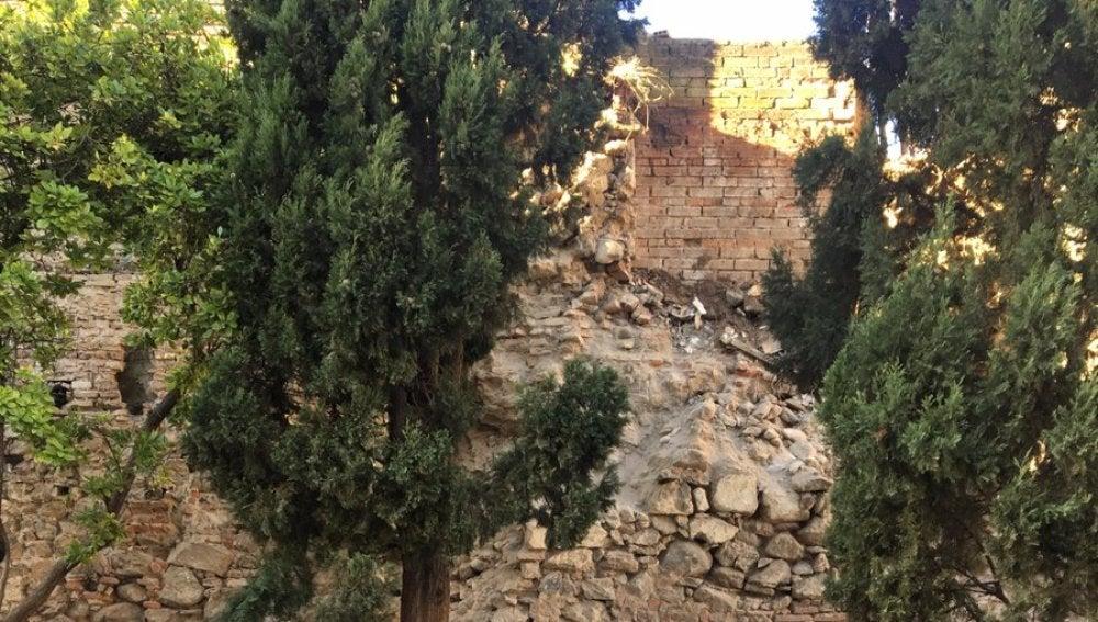 Derrumbe de la muralla de Talavera. Foto del alcalde Jaime Ramos