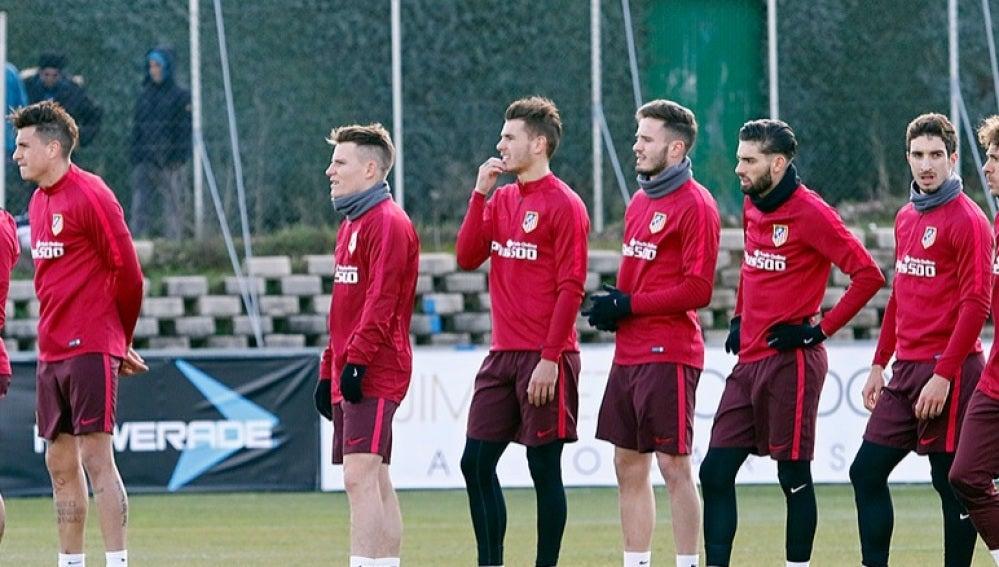 Lucas Hernández, en el entrenamiento del Atlético de Madrid
