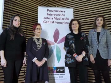 Arianne Hernández, Ana Buñuel, Ascensión Iglesias y Amapola Blasco durante la inauguración de las VI Jornadas Internacionales contra la Mutilación Genital Femenina