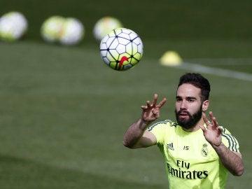 Carvajal, durante un entrenamiento del Real Madrid