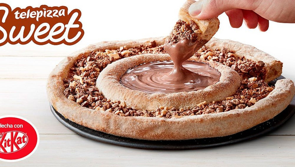 Pizza de chocolate y Kit Kat