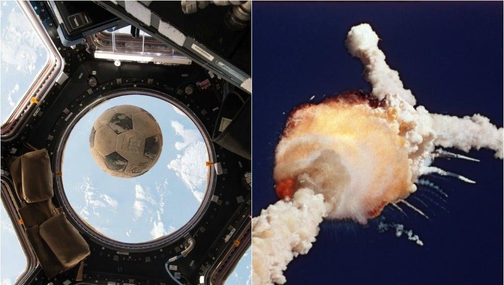 Balón orbitando en la Estación Espacial Internacional (izq) y accidente del Challenger en el 86 (der)