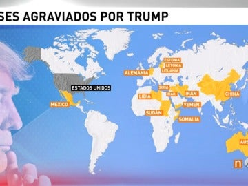 Países afectados por el veto de Donald Trump