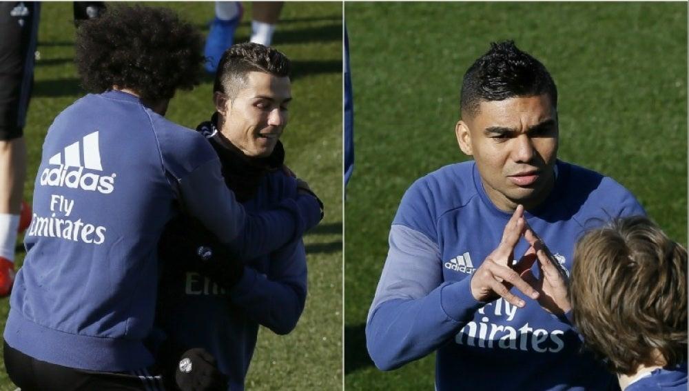 Casemiro Cristiano y Casemiro, en el entrenamiento del Real Madrid