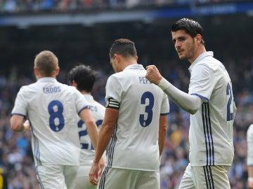 Morata celebra un gol con el Real Madrid