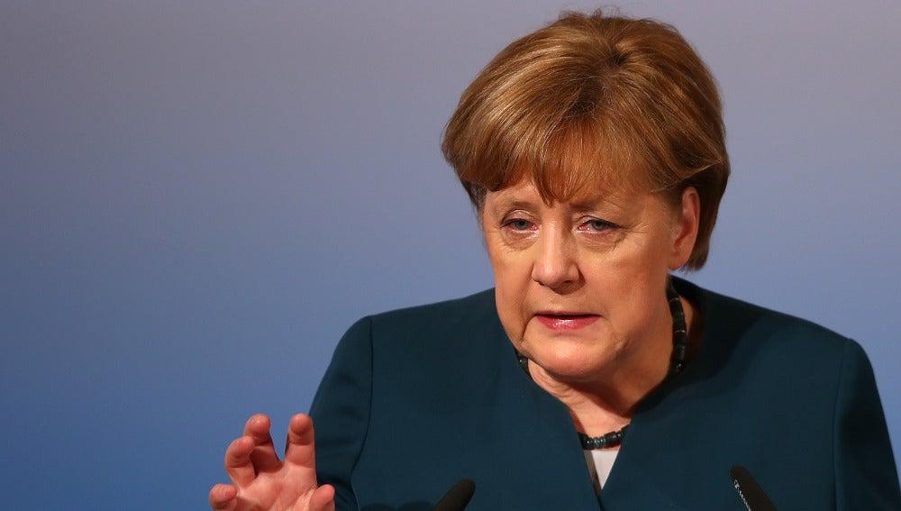 Angela Merkel durante su discurso