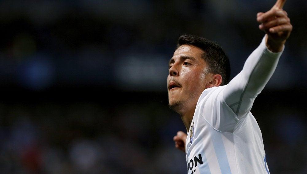 Fornals celebra un gol con el Málaga