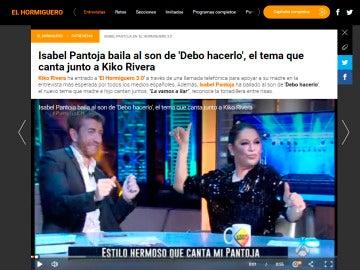 Noticia web de Isabel Pantoja en 'El Hormiguero 3.0'