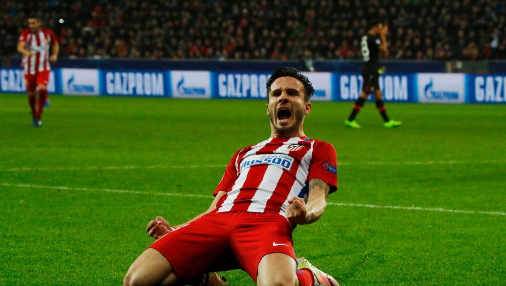 Saúl celebrando su gol con el Atlético de Madrid 78884ea0121cf
