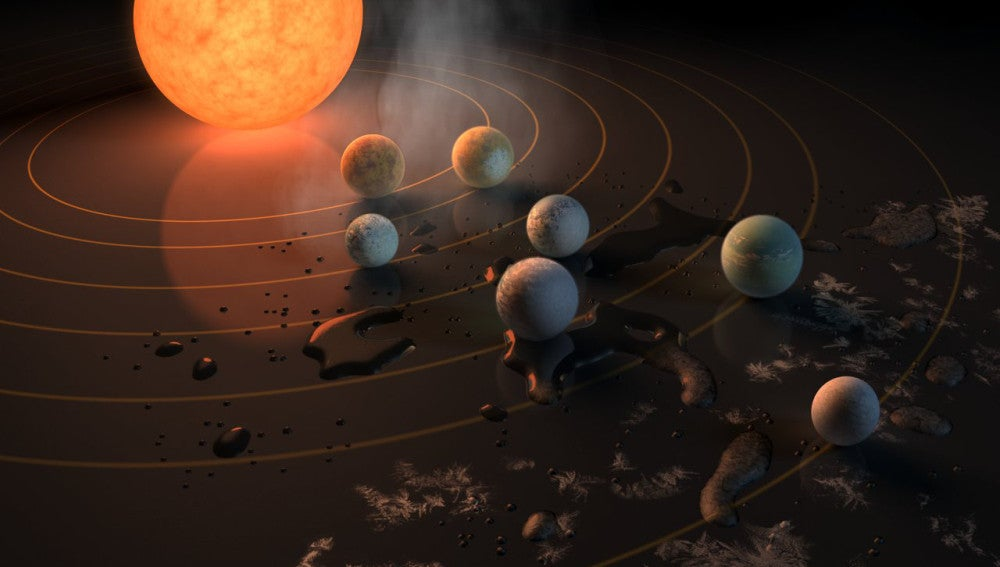 Representación artística que muestra la estrella TRAPPIST-1 y sus planetas marcando su potencial para albergar agua líquida según la temperatura superficial a la que se encuentran