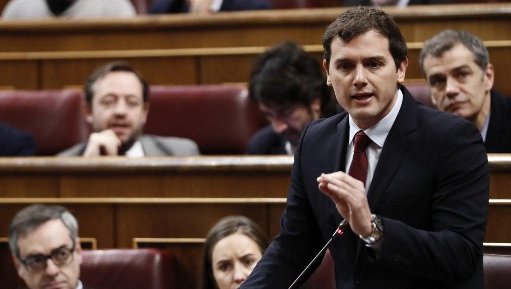 Albert Rivera, durante una intervención en el Congreso de los Diputados