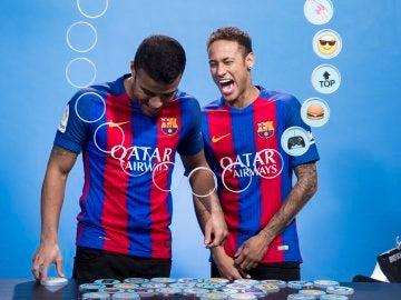 Neymar y Rafinha, en un acto con el FC Barcelona