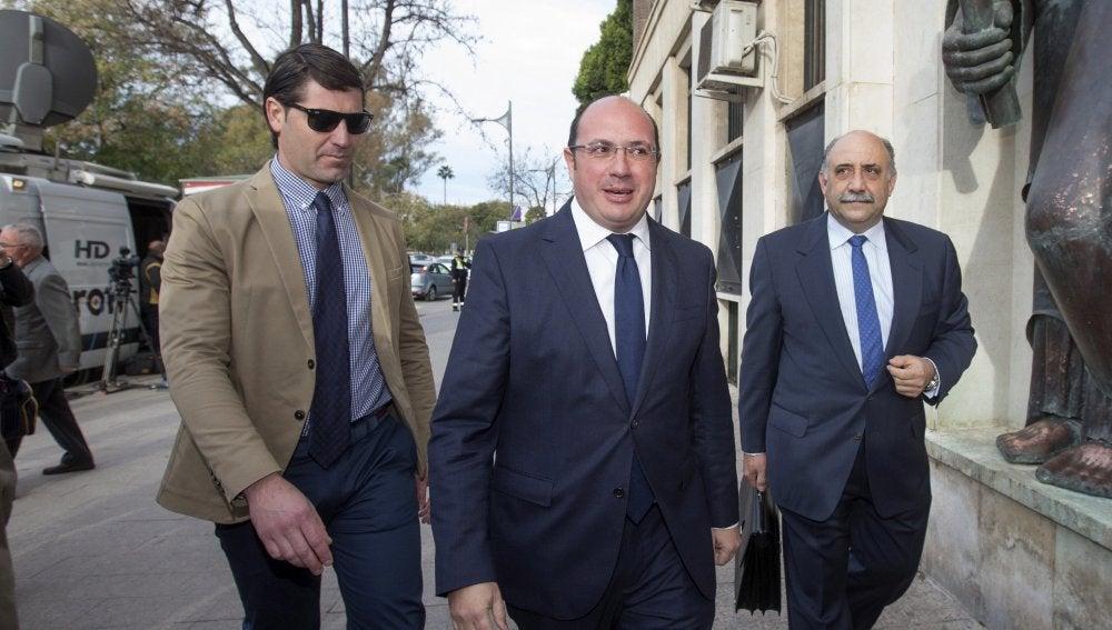 Pedro Antonio Sánchez a su llegada al Tribunal Superior de Justicia de Murcia