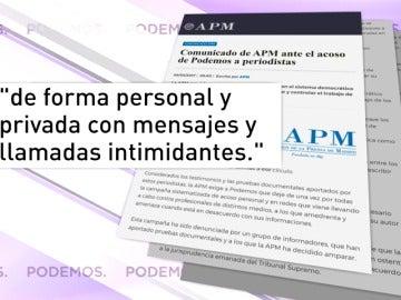 """Frame 8.892419 de: La Asociación de la Prensa de Madrid exige a Podemos que abandone la campaña de """"acoso personal"""" y """"amenazas"""" a profesionales de los medios"""