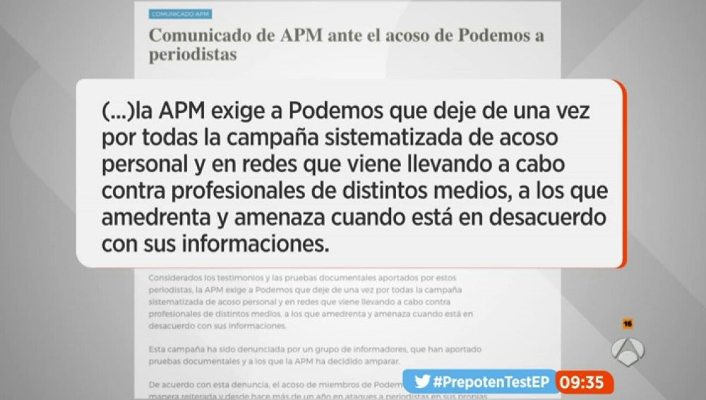 """Frame 33.043888 de: La Asociación de la Prensa de Madrid exige a Podemos que abandone la campaña de """"acoso personal"""" y """"amenazas"""" a profesionales de los medios"""