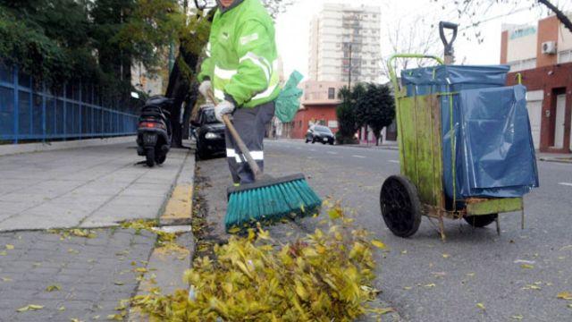Un barrendero barriendo las hojas de los árboles