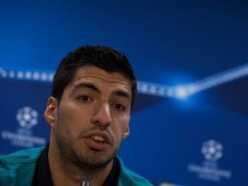 Luis Suárez, durante la rueda de prensa