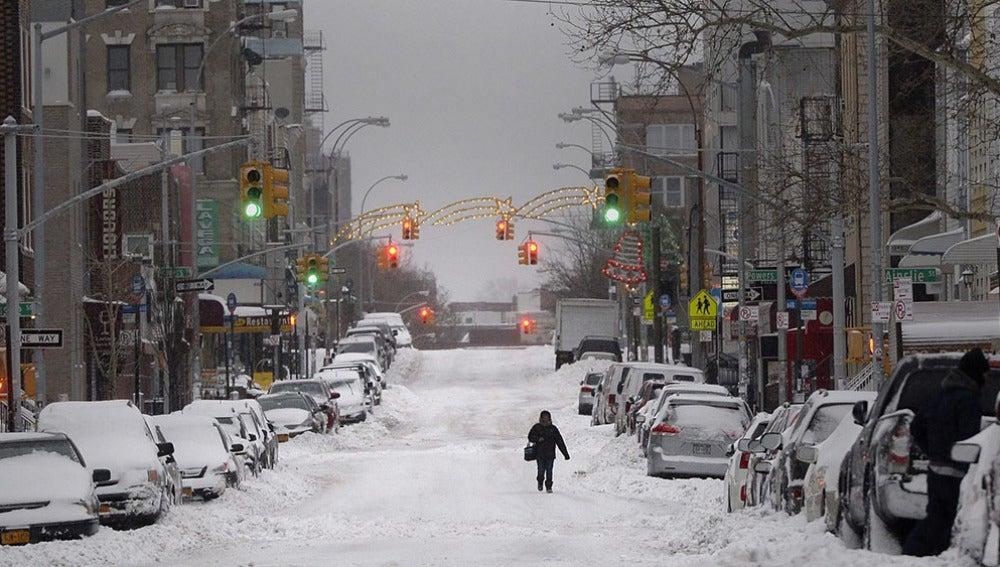 Calle nevada en Nueva York