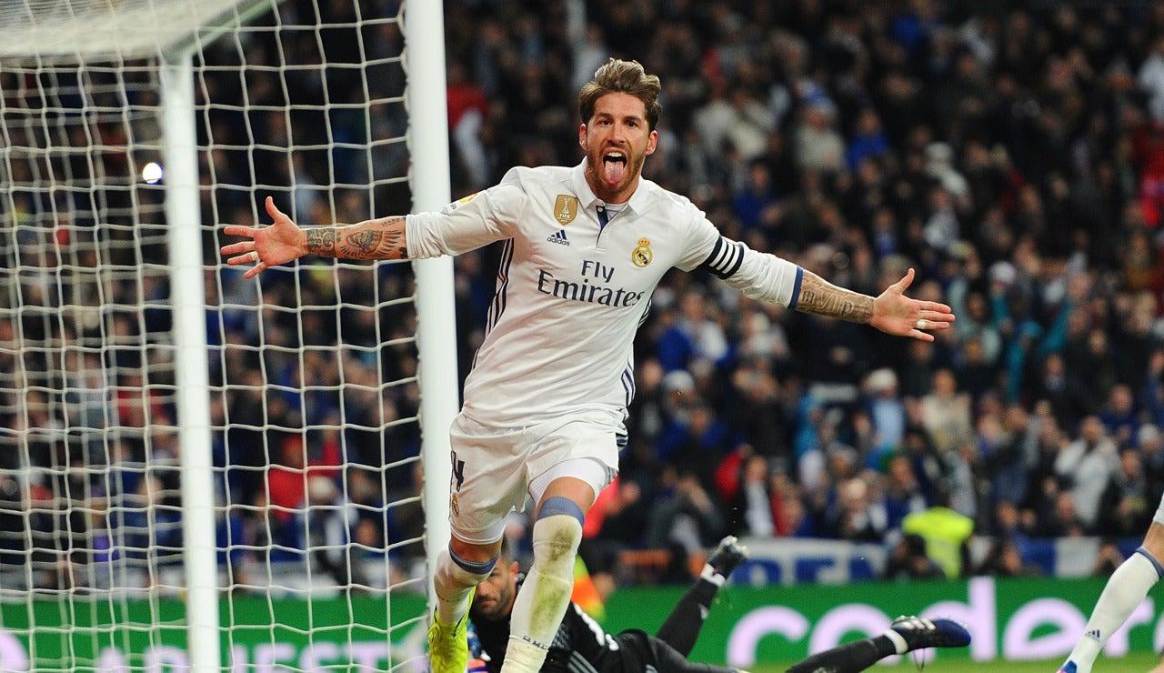 Sergio Ramos celebra un gol en el Bernabéu