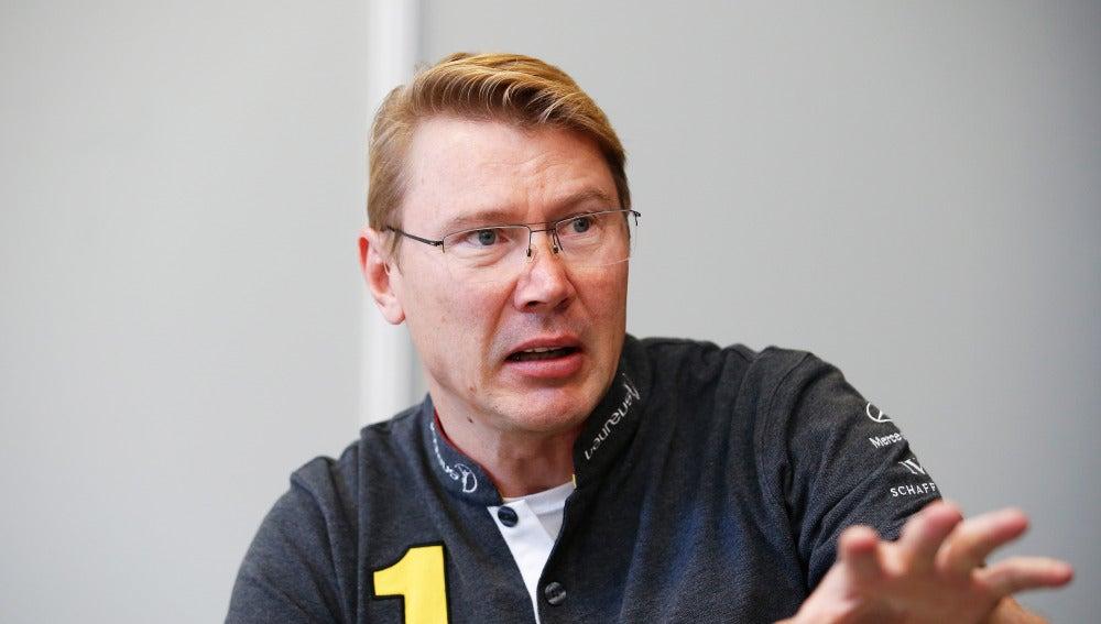 Mika Hakkinen, durante una entrevista