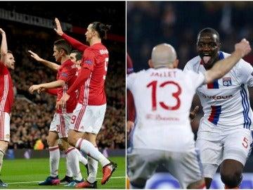 El Manchester United y el Olympique de Lyon celebrando un gol