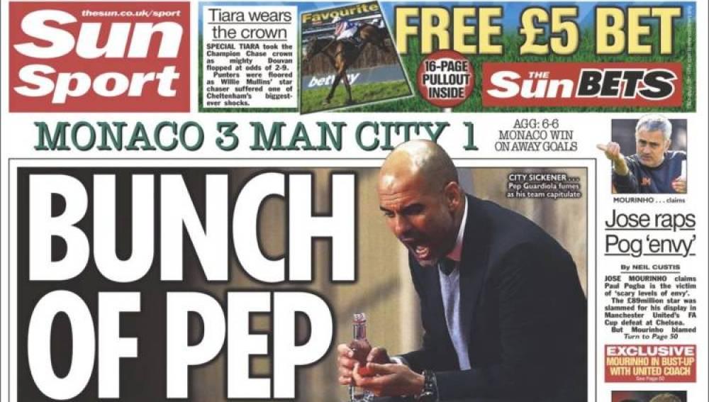 Guardiola, en la portada del 'Sun Sport'