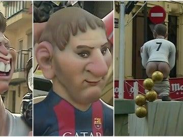 Los ninots de Leo Messi y Cristiano Ronaldo en las Fallas de Valencia