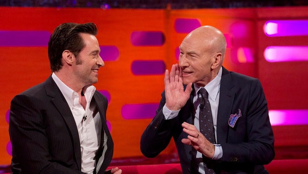 Patrick Stewart junto a Hugh Jackman