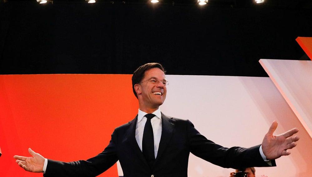Mark Rutte tras conocer que ha ganado las elecciones en Holanda