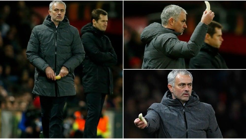 Mourinho pela un platano y se lo da a Rojo