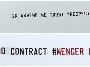 Las pancartas con los mensajes de apoyo y desacuerdo con Wenger