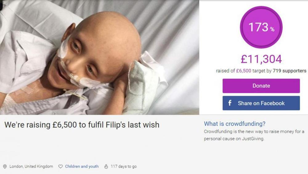 Campaña para cumplir el último deseo de un niño en estado terminal