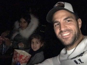 Fábregas, con su familia en el cine