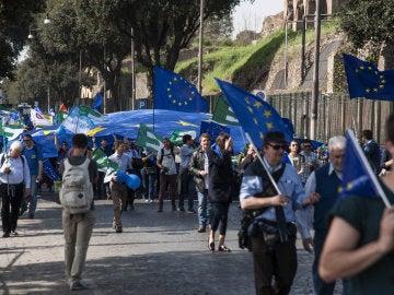 Manifestación proeuropea en Roma