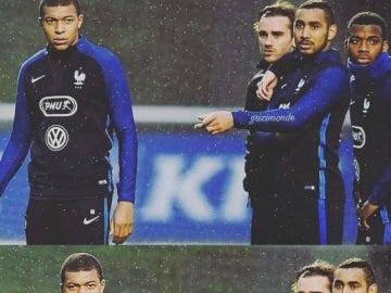 Griezmann, Payet y Mbappé durante un entrenamiento de Francia