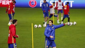 Julen Lopetegui, en un entrenamiento de la Selección