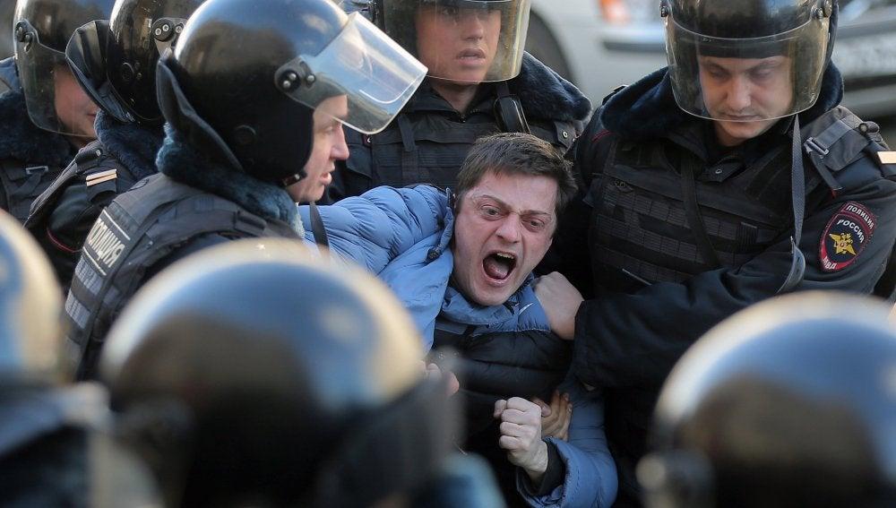 Detenciones en una manifestación en Rusia