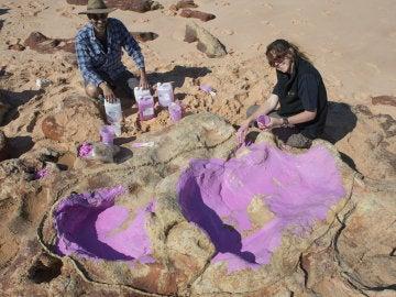 Descubren una huella de dinosaurio de 1,7 metros de larga