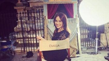 Emilia Clarke durante el rodaje del spot